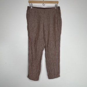 J. Jill Pull On Brown 100% Linen Ankle Pants